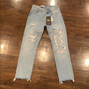 Levi's 501 Jeans Cropped Distressed Blue Sz26 $128